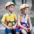 Stock Photo: 6 year old kids with climbing equipment