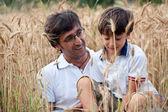 Pappa leker med sin son i ett vete fält — Stockfoto