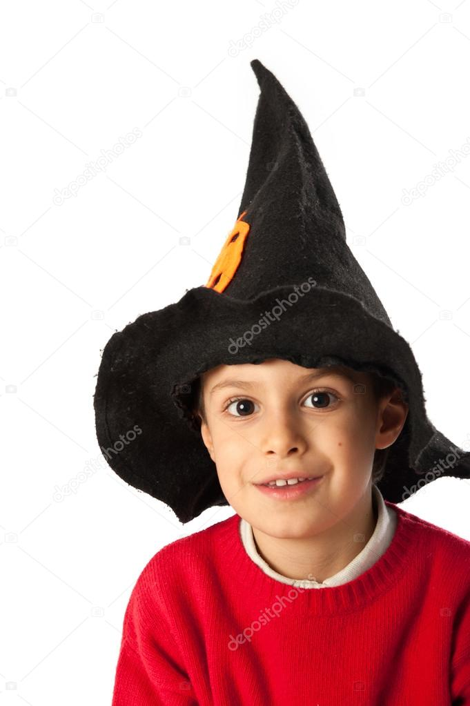 Child with wizard mask isolated on white background  Stock Photo #16290223
