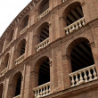 Detail of Plaza de toros (bullring) in Valencia, Spain. The stadium was built by architect Sebastian Monleon in 1851 - Stock Photo