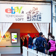 MILAN, ITALY - APRIL 31: entering Ebay design exhibition in Zona Tortona area during Fuorisalone, fashion and public design festival show. April 31, 2012 in Milan, Italy - Lizenzfreies Foto