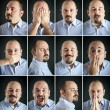 Composition of different expressions of the same man on dark background — Stock Photo