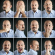 Composition of different expressions of the same man on dark background - Stock Photo