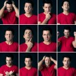 Set of different expressions of the same man on dark background - Stock Photo