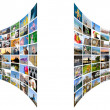 Abstract multimedia background made by different images bent against white background — Stock Photo
