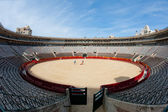 Interior view of Plaza de toros (bullring) in Valencia, Spain. The stadium was built by architect Sebastian Monleon in 1851 — Stock Photo