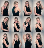 Collage of blonde woman with different facial expressions — Stock Photo