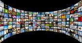Abstracte multimedia achtergrond gemaakt door verschillende beelden gebogen — Stockfoto
