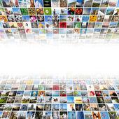 Multimediální pozadí abstraktní ze strany různých obrazů — Stock fotografie