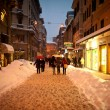 BOLOGNA, ITALY - FEBRUARY 4: walking in city center - Stock Photo
