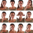 Collage of woman close up portrait with different expressions against white background — Stock Photo
