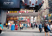 NEW YORK CITY - JUN 26: Times square subway station in NYC — Stockfoto