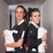 Stock Photo: Two chambermaid women portrait in hotel