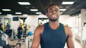 Young black man portrait in the gym — Stock Photo