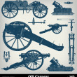 Engraving vintage cannon set - Stock Vector