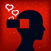 Valentýn karty s bílou srdce z hlavy — Stock vektor