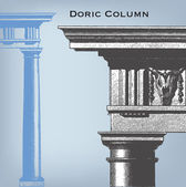 Engraving vintage Doric column — Stock Vector