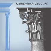 Engraving vintage Corinthian column — Stock Vector