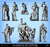 Engraving classical sculpture set — Stock Vector