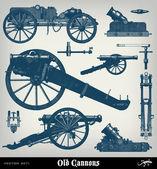 Grabado cañón vintage set — Vector de stock