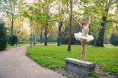 Young beautiful ballerina dancing outdoors in a park. Ballerina project — Stock fotografie
