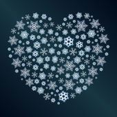 Snowflakes in the form of a heart — Stock Vector