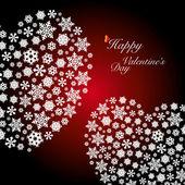 Dos formas del corazón de los copos de nieve. Feliz día de San Valentín — Vector de stock