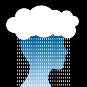 Human head with cloud and rain. Concern concept — Stock Vector