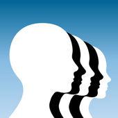 Czarno-białe ludzkiej głowy — Wektor stockowy