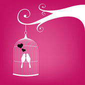 Valentines Day card with vintage birdcage and couple of kissing birds — Vector de stock
