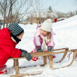 Two little kids - boy and girl - having fun with sledge in snow — Foto de stock #19175689