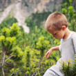 Portrait of four year old boy walking outdoors in the mountains — 图库照片