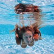 Close up portrait of underwater woman in swimming pool — Stock Photo #19176539