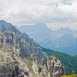 Panoramic view of Dolomites mountains, Italy. Sassolungo, Val Gardena - Stock Photo