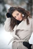 Portrait of beautiful girl in winter time with snow — Stock Photo