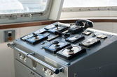 Wheelhouse in modern passengers ship — Stock Photo