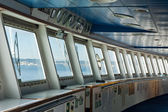 Control room windows view in modern passengers ship — Stock Photo