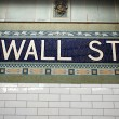 Stock Photo: Wall street subway sign tile pattern in New York City Manhattan