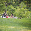 NEW YORK - JULY 1: Friends relaxing outdoors in Central Park on — Stock Photo