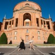 Young beautiful dancers in front of San Luca church. Bologna, It — Stock Photo