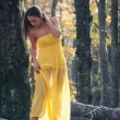 Beautiful young woman outdoors with yellow dress in the woods po — Stock Photo
