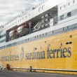 TOULON, FRANCE - JANUARY 2: Ferry boat boarding in Toulon harbou - Stock Photo