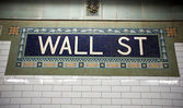 Wall street subway sign tile pattern in New York City Manhattan — Stock Photo