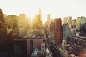 New York City Manhattan skyline view at sunshine. — Stock Photo