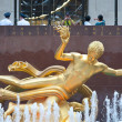 NEW YORK - JUNE 22: Prometheus statue at Rockefeller Center on 5th Avenue on June 22, 2012 in New York City. - Stock Photo
