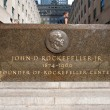 NEW YORK - JUNE 22: Rockefeller commemorative plaque on 5th Avenue on June 22, 2012 in New York. — Stock Photo