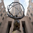 NEW YORK - JUNE 22: Atlas statue at Rockefeller Center on Fifth Avenue on June 22, 2012 in New York City. - 图库照片