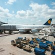 FRANKFURT, GERMANY - JULY 5: Boarding Lufthansa Jet airplane in Frankfurt airport. - ストック写真