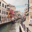 Typical canal with gondola. Venice, Italy. — Stock Photo #21629483