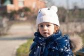 Two year little girl winter park portrait. — Stock Photo